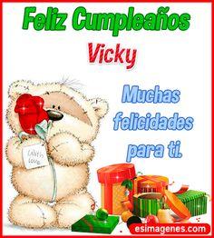 Feliz Cumpleaños Vicky Happt Birthday, Birthday Cake Writing, Fruit Birthday Cake, Birthday Pictures, Birthday Images, Happy Birthday Wishes Cards, Love Phrases, Birthdays, Teddy Bear