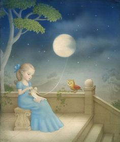 Moonstruck by Nicoletta Ceccoli Mystic Moon, Different Art Styles, Whimsical Art, Phone Backgrounds, Dollhouse Miniatures, Creepy, Cinderella, This Is Us, Disney Characters