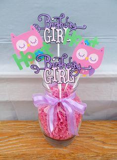Owl Birthday Centerpiece, Owl Centerpiece, Owl table decor, Spring Owl table decor, Owl birthday table decor by JsCraftDesigns on Etsy https://www.etsy.com/listing/226349093/owl-birthday-centerpiece-owl-centerpiece