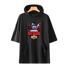 Unisex Brawl Stars T-Shirt Printed Hooded Short Sleeve Pullover Tee Tops Hoodies, Sweatshirts, Unisex, Pullover, Stars, Sleeves, How To Wear, T Shirt, Fashion