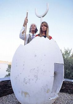 """Amazing. aptly surreal. Salvador Dali & Francoise Hardy at Dali's """"egg house"""" in Cadaques, Spain. Larger file."""