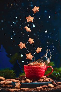 Creative food still life including coffee cups, sugar and flying star shaped cookies Levitation Photography, Star Photography, Coffee Photography, Still Life Photography, Indoor Photography, Photography Contests, Photography Courses, Landscape Photography, Portrait Photography