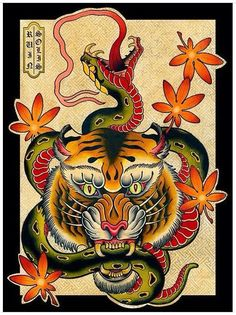 Old school tiger keeping long green snake in teeth tattoo design Plus