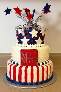 4th of July Wedding Cake, maybe without all the decoration on top