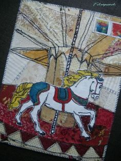 fabric scraps collage and free motion applique carousel textil postcard