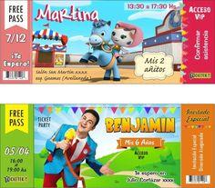 invitaciones tarjetas ticket infantiles personalizadas. Dentro de la caja.  Filtra acceso