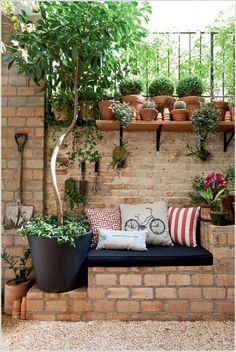 Build a Bench for Your Patio Surrounded with Plants