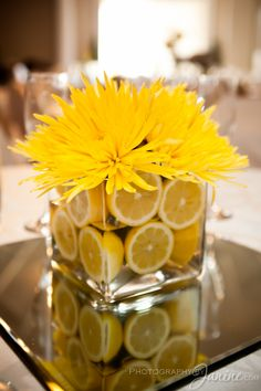 Lovely and bright lemon flower arrangement.