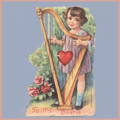 To My Dearie. a scratch by the heart in the harp strings; Vintage Valentines, Valentines Day, Paper Crafts, Diy Crafts, Vintage Christmas, Old Things, Germany, Gift Wrapping, 1920s
