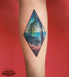 Beach landscape rhombus tattoo on the left inner forearm. Sexy Tattoos, Body Art Tattoos, Tattoos For Guys, Tattos, Landscape Tattoo, Beach Landscape, Scenery Tattoo, Tropical Tattoo, Paradise Tattoo