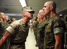Officer Candidate School: The funny thing is that the guy getting yelled at (Officer Candidate) will (if he made it through) in a few weeks, outrank the Enlisted Marine doing all the yelling. Talk about switching the tables. Lol.