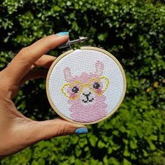 What is cuter than a pink llama Cross Stitch DIY pattern? A pink llama embroidery design with heart shaped glasses of course. This modern cross stitch is an easy cross stitch pattern for a beginner. Or anyone who is a llama or alpaca lover. Kawaii Cross Stitch, Simple Cross Stitch, Modern Cross Stitch, Embroidery Supplies, Cross Stitch Embroidery, Embroidery Patterns, Hand Embroidery, Easy Cross Stitch Patterns, Cross Stitch Kits