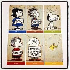 Peanuts limited edition comic-con collectable cards! :) Peanuts Lucy PigPen Snoopy Linus CharlieBrown Woodstock