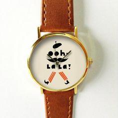 Oh La La Moustache Watch, Vintage Style Leather Watch, Women Watches, Unisex Watch, Boyfriend Watch Black