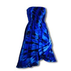 Nebula Convertible Dress/Skirt - deep and beautiful colors dyed in a nebula pattern, this dress is also worn as a long skirt. Asymmetrical ruffle hem, elastic bodice, 100% rayon, also available as a solid white tie-dye blank. See HipOutfitters.com for details!