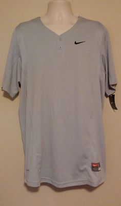 TEAM BASEBALL/SOFTBALL GRAY NIKE DRI FIT JERSEY BOYS NWT #Nike