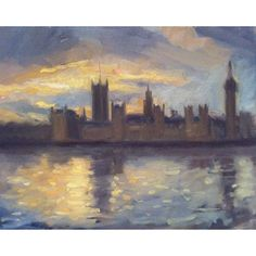 Landscape oil painting of the Houses of Parliament. Artist; Charlotte Partridge