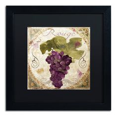 """Trademark Art 'Tuscany Table Rouge' Framed Graphic Art Mat Color: Black, Size: 16"""" H x 16"""" W x 0.5"""" D"""