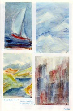 Тafel 66: Schichtübungen 01 in Pflanzenfarben: Segelschiff, Landschaften, Wolkenkratzer (9. / 10. Schuljahr) oben links: 1. Segelschiff in Rot mit weissem Segel auf blau-braunem Meer mit grau-blauem Himmel oben rechts: 2. verschneite Winterberge, Luftbild unten links: 3. Hügellandschaft mit See, im Hintergrund hohe Berge in Blaugrau, heller, blau-grauer Himmel unten rechts: 4. Wolkenkratzer in Blaugrau, Braun und Rot