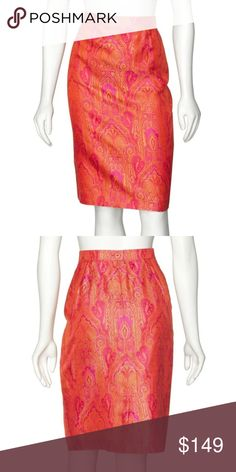 0e2df3b5a34 Escada Red Orange Paisley Silk Brocade Skirt Suit Color  Magenta Pink  amp   Orange Paisley