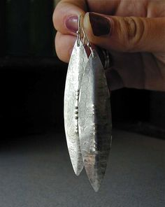 Long Sterling Silver Dangle Earrings Textured by betsybensen