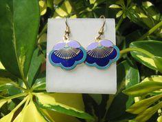 vintage Laurel Burch cloisonne enamel pierced earrings #LaurelBurch #DropDangle