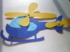 Paper helicopter with moving blades craft kit by mimiscraftshack, $1.25.. don't need to buy kit, just use construction paper, blue tissue paper and brads... @Jolene Mathias