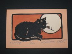 "Cat Nap Print $240 Cat Nap Print Matted Size: 11.5""W x 10""H Artist: Kathleen West  Kathleen West's printmaking style has been the product of 40 years of hard work and artistic inspiration. Kathleen began developing her craft while earning her B.S. in art education from Rosary Hill College in the early 60's. Her early work reveals a young mother's lifestyle where artistic influences came from children's books and childhood themes. Over time, Kathleen's appeal for children's books and their de"