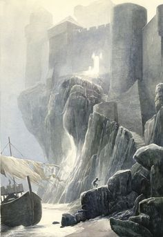 Alan Lee-  Lancelot at Carbonek, 1984 Watercolor