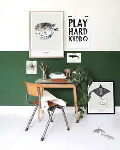 GREEN IN BOYS BEDROOMS - Kids Interiors Green is associated with nature and therefore creates a serene and calm environment for children. Half Painted Walls, Half Walls, Two Tone Walls, Room Inspiration, Interior Inspiration, Workspace Inspiration, Kids Room Design, New Room, Kids Bedroom