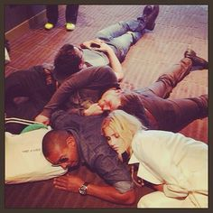 Joseph Morgan, Charles Michael Davis, Daniel Gillies and Claire Holt.... Sleeping Time! :) Who would love to be Claire Holt right now?!