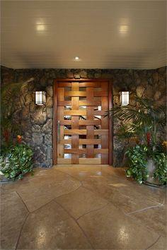 Main Door Design Entrance Hallways Ideas For 2019 House Entrance, Entrance Doors, Entrance Ideas, The Doors, Windows And Doors, Hawaiian Homes, Main Door Design, Light In, Celebrity Houses