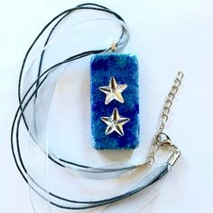 Handmade Jewelry Alcohol Inks Dominoes Pendant Necklaces Blue Necklace for Women…