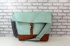 Lulu Large Flap Messenger Satchel  - Canal Denim and PU Leather READY to SHIP Travel Business Nappy Bag Stroller Attachment by marandalee on Etsy