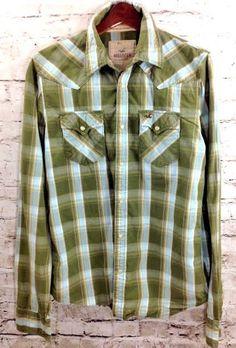 Hollister Mens L Green Blue Plaid Western Cowboy Shirt Pearl Snap 100% Cotton LS #Hollister #Western