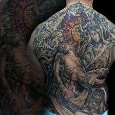 pieta back piece #tattoo #tattoos #tonymancia #blackandgrey #ink #tattooartist #religious #backpiece