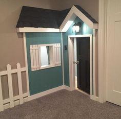 Under Stairs Playroom, Under Stairs Playhouse, Build A Playhouse, Basement Stairs, House Stairs, Indoor Playhouse, Small Kids Playrooms, Playroom Design, Playroom Ideas