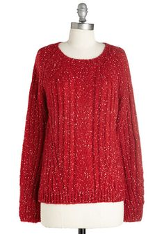 Carol of the Belles Sweater - Mid-length, Knit, Red, Solid, Casual, Holiday, Long Sleeve, Scoop