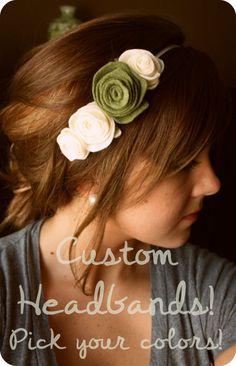 Rose Felt Headband Adult  Custom Colors by MoriahMakes on Etsy, $15.00