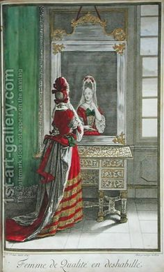 "Lady looking in the mirror, published c.1688-90 by Jean Dieu de Saint-Jean.  The French term ""déshabillée"" in this context refers to non-court sanctioned dress, i.e. a flowing mantua rather than a stiffly boned bodice plus skirt."