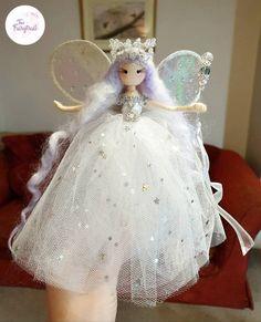 Fairy Crafts, Doll Crafts, Diy Doll, Christmas Tree Fairy, Christmas Angel Ornaments, Unicorn And Fairies, Flower Fairies, Baby Hair Accessories, Diy Crafts Hacks