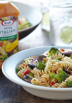 Italian Pasta Salad – Black olives, broccoli, and peppers combine with zingy dressing to create this Italian-style pasta salad—a backyard picnic and potluck favorite.