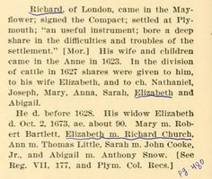 Information relating to my extremely great grandfather (I forget how many generations now) Richard Warren.  His daughter Elizabeth is underlined, but I came from Nathaniel's line.