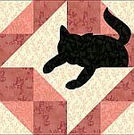 Granbdmother's Spool quilt block with kitty, block of the month with kitty's in each one!