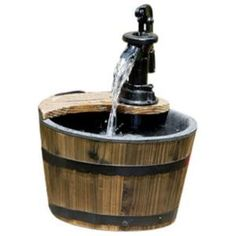 Wood Barrel with Pump Patio Water Fountain by Wayfair