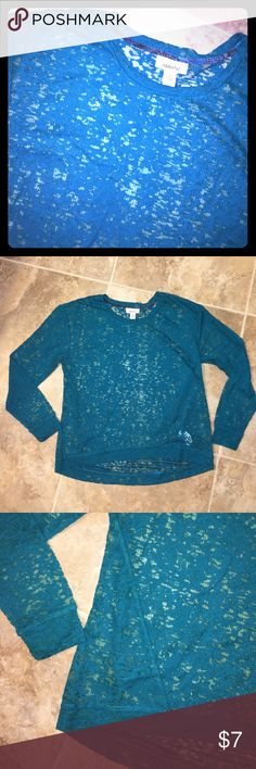 Ambar sheer top Never worn. Bought from Target. Sheer high low top. Greenish blue color Ambar Tops Tees - Long Sleeve