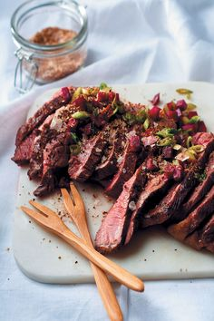 Finished in a flash, tender and spicy pan-fried rump steak with spiced salt and fresh beetroot salsa is a quick, easy and delicious weekday supper idea. Dinner On A Budget, Budget Dinners, Easy Budget, Steak Spice, Steak Dishes, Rump Steak, Lamb Ribs, Best Pans, Fresh Salsa