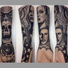 Sleeve tattoo with clouds, stars, rose, skull, owl, eva longoria, kate moss