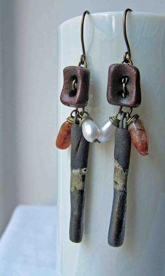 Sunstone tips - handmade earrings, beaded earrings, gemstone earrings, ceramic earrings, art bead earrings. £16.50, via Etsy.