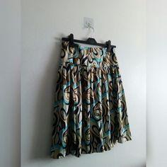 5f4e24425a BLUE VINTAGE PATTERNED SKIRT • Blue, white, black and - - Depop Patterned  Skirt